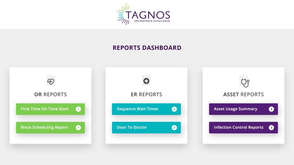 Screenshot of TAGNOS Reports Dashboard